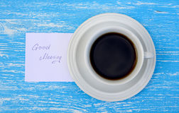 Cup of tea with good morning note Royalty Free Stock Image