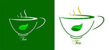 Cup of green tea with green leaves on white and green background stock illustration