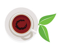 Cup of tea and green leaves, vector  Stock Image