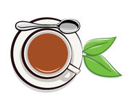 Cup of tea and green leaves, vector  Royalty Free Stock Photography