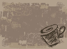 Cup of tea, grunge background for your design Stock Images