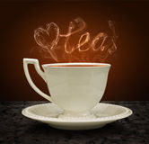 Cup of tea and heart and love with a pair of tea. Concept graphi Stock Images
