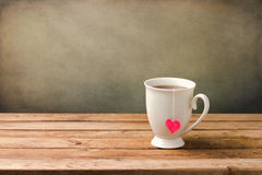 Cup of tea with heart shape royalty free stock photo