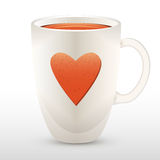 Cup of tea with heart Stock Photo