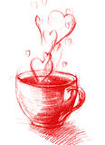 Cup of Tea with hearts, sketch drawing Royalty Free Stock Photography