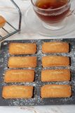 Cup of tea with homemade financier cakes. A cup of tea with homemade financier cakes stock image