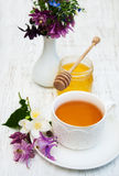 Cup of tea, honey and flowers Royalty Free Stock Image