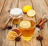 Cup of tea with honey Stock Photos