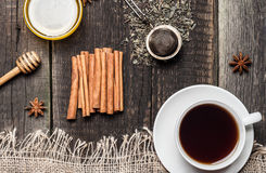 Cup of tea, honey and spices Royalty Free Stock Photos