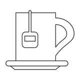 Cup tea hot break office work outline. Vector illustration eps 10 Stock Photography