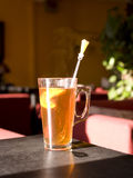 A cup of tea. A cup of hot lemon tea Stock Photography