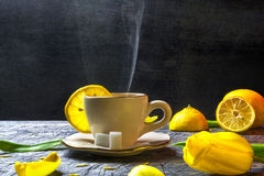 Cup tea hot sugar lemon smoke Stock Images