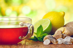 Cup of tea. A cup of hot tea on wooden table against spring blurred background. Tea time concept Stock Photo