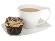 Cup of Tea with an Iced Cupcake Stock Photo