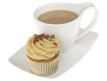Cup of Tea with an Iced Cupcake Royalty Free Stock Images