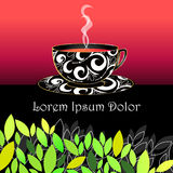 Cup of tea illustration. Vector illustration of cup of tea and green leaves Stock Image