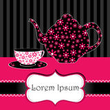Cup of tea illustration. Vector illustration of cup of tea and kettle on floral background Royalty Free Stock Photography