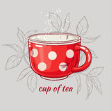 Cup of tea. Illustration with cup of tea on grey background Royalty Free Stock Images