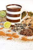 Cup of tea with ingredients for tea Stock Photos