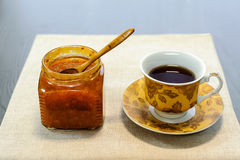 Cup of tea with jam Stock Image