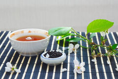 Cup of tea, jar of tea leaves and cherry blossoms Stock Images