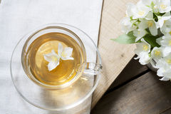 Cup of tea with jasmine and blooming jasmine branch Royalty Free Stock Photos