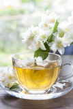 Cup of tea with jasmine and blooming jasmine branch Royalty Free Stock Image