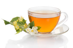 Cup of tea with jasmine and linden flower Royalty Free Stock Photo