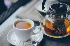 A cup of tea with the kettle Stock Images