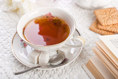 Cup of tea on lacy cloth Royalty Free Stock Photography