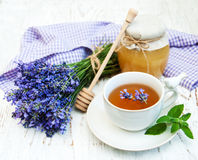 Cup of tea and lavender flowers Royalty Free Stock Images