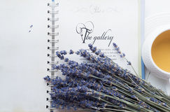 Cup of tea with lavender. Open book. Lilac, white, yellow colours Royalty Free Stock Photo