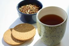Cup of tea with tea leaves in a bowl and biscuits at the side. Modern minimalistic image. Cup of tea with tea leaves in a bowl and biscuits at the side. Modern royalty free stock image