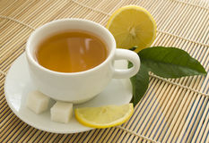 Cup of tea and lemon Stock Photography