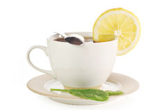 Cup of tea with lemon. And sugar Stock Images