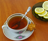 Cup of tea and lemon Royalty Free Stock Photos