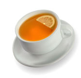 Cup of tea with a lemon Royalty Free Stock Photo