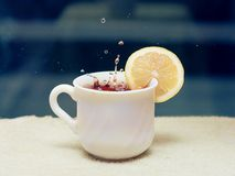 A cup of tea with lemon Royalty Free Stock Photos