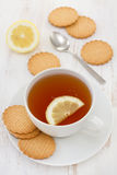 A cup of tea with lemon Royalty Free Stock Images