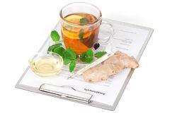 Cup of tea with lemon and anamnesis Stock Photo
