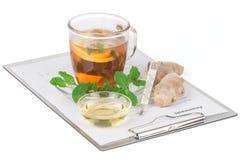 Cup of tea with lemon and anamnesis Stock Image