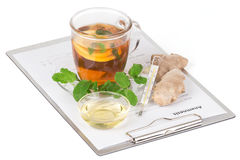 Cup of tea with lemon and anamnesis Stock Photography