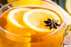 Cup of tea with lemon and anise closeup Stock Image
