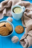 A cup of tea with lemon, biscuits, beige knitted blanket Stock Images