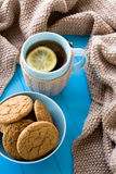 A cup of tea with lemon, biscuits, beige knitted blanket Stock Image