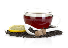 Cup of tea with lemon and black tea isolated on white Royalty Free Stock Images