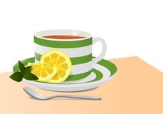 Cup of tea and lemon, cdr vector Royalty Free Stock Photography