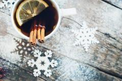 Cup of Tea with a Lemon and Cinnamon on Christmas Stock Photography