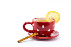 Cup of tea with lemon and cinnamon. On  white background Stock Image