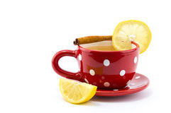 Cup of tea with lemon and cinnamon. On  white background Royalty Free Stock Image